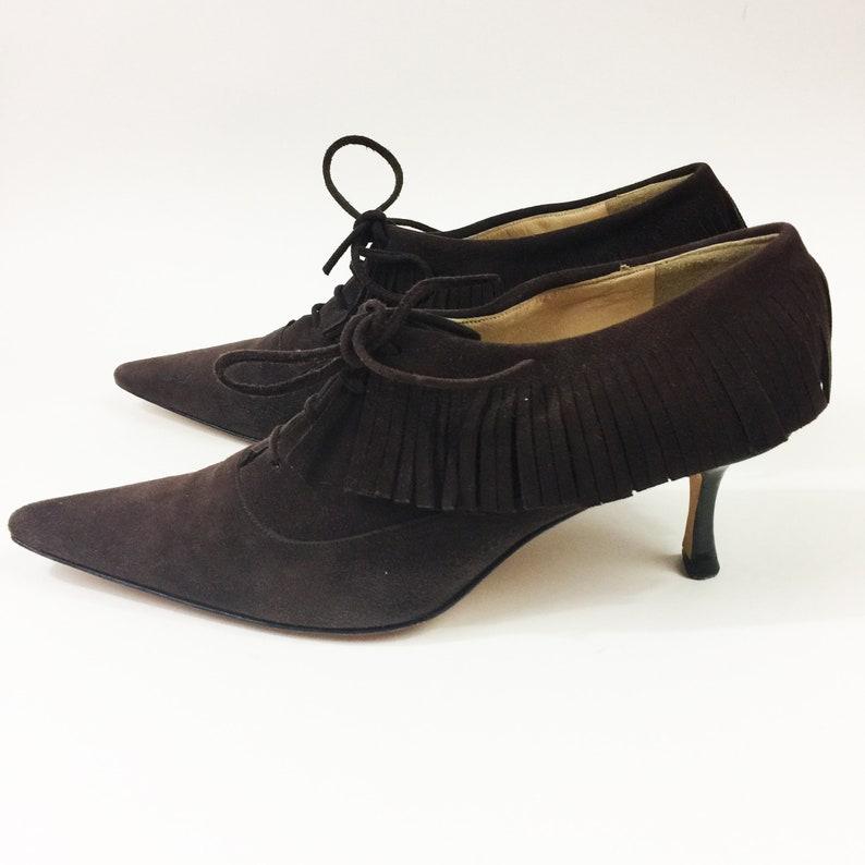 2b856e57f5 Vintage 90s JIMMY CHOO Shoes Brown Suede Leather Fringe Heels | Etsy