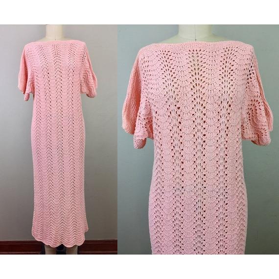 Vintage 1930s Pink Crochet Dress 30s S/M