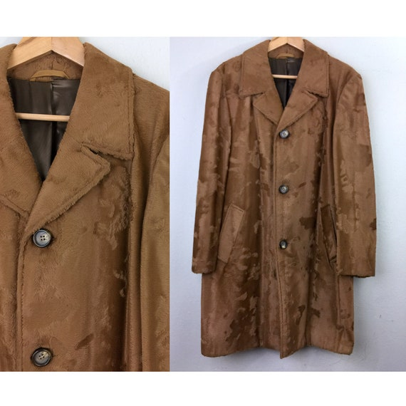 Vintage 60s 1970s Mens Coat Grevelour Brown Faux F