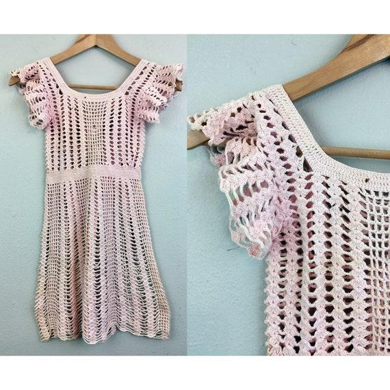 Vintage 30s Child's Dress Pale Pink Crochet Knit 1
