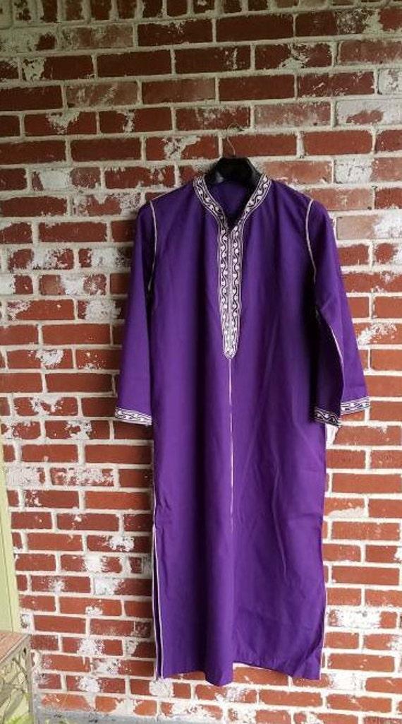 Antique Purple Kaftan Ethnic Moroccan ? Purple Emb