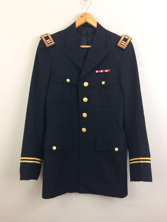 Vintage MILITARY Jacket Sports Coat Navy Blue Mens S 36  853f2693a86