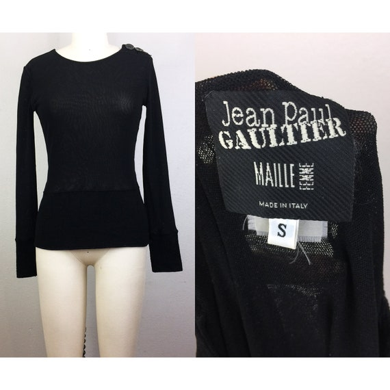Vintage 90s Jean Paul GAULTIER BlackStretchy Mesh