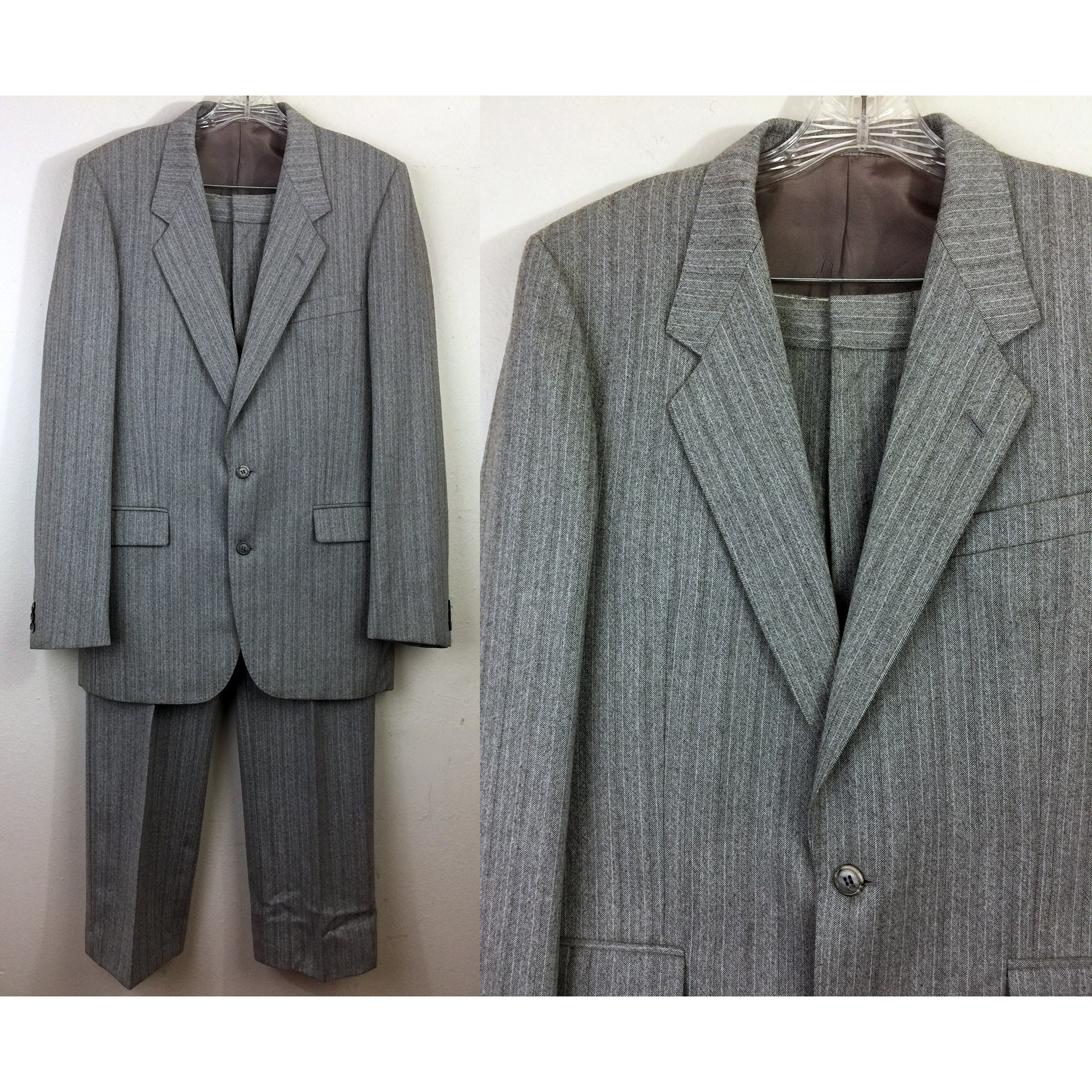 1960s – 70s Men's Ties | Skinny Ties, Slim Ties Vintage 60S Mens 2 Piece Suit Gray Wool Pinstripe Jacket  Pants W33 $0.00 AT vintagedancer.com
