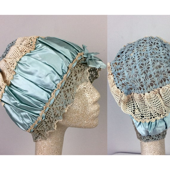 Antique Edwardian Blue Silk Satin Crochet Bonnet H