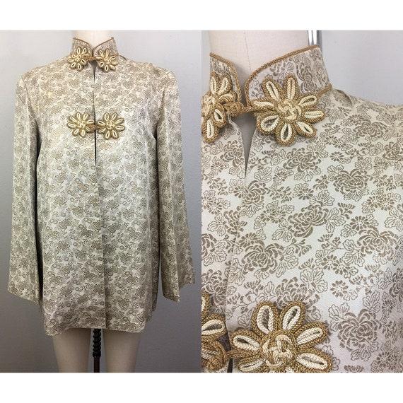 Vintage 30s 40s Japanese Gold Floral Brocade Jacke