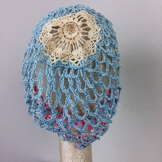 Antique Edwardian Blue Crochet Bonnet Hat 20s Fla… - image 5