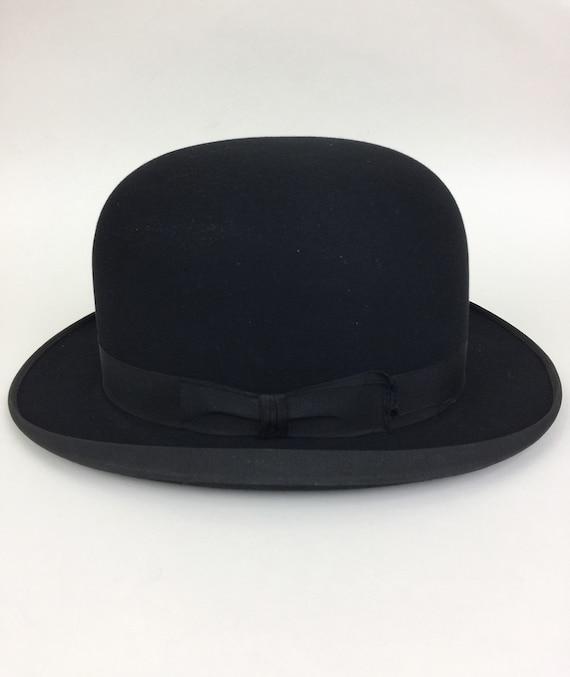 Vintage 20s 30s STETSON ROTHSCHILD Mens Black Bowler Hat RARE 7bb2e277223