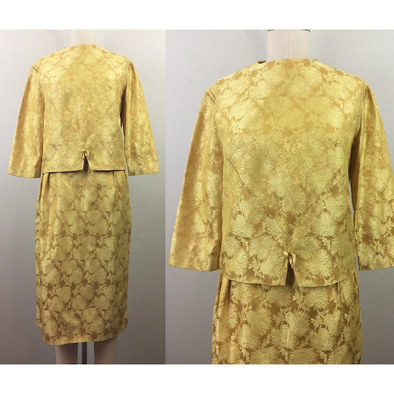 Vintage 50s 60s Gold Floral Brocade Top and Skirt
