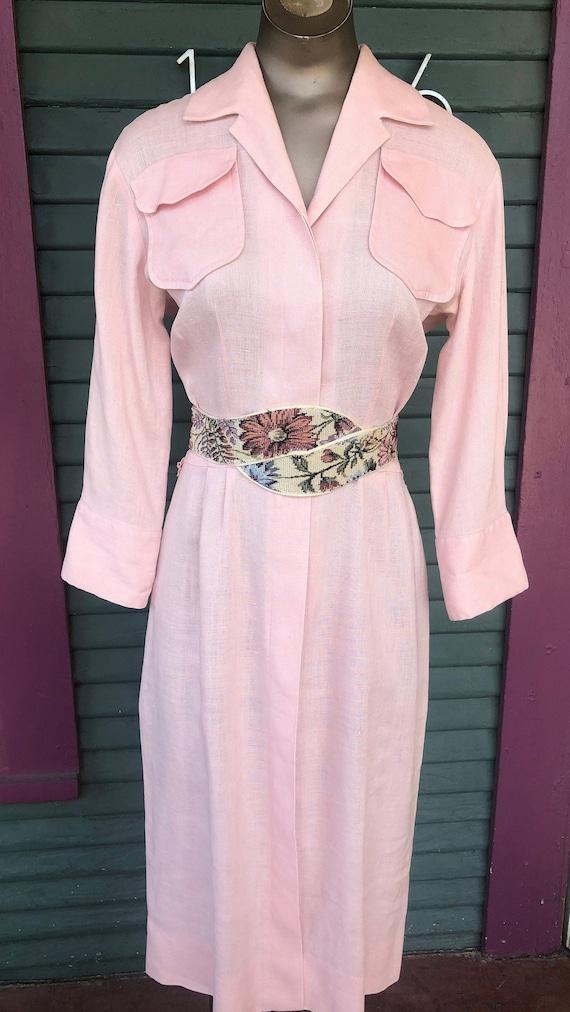 Vintage 30s/40s Pink IRISH LINEN Dress  Battelstei