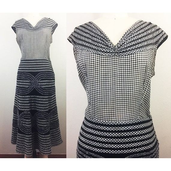 Vintage 50s Black White GINGHAM Textured Cotton an