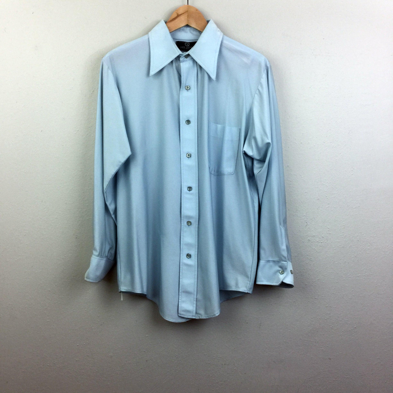 1970s Mens Shirt Styles – Vintage 70s Shirts for Guys Vintage 70S Mens Light Blue Nylon Button Down Shirt Van Heusen 1970S L $0.00 AT vintagedancer.com