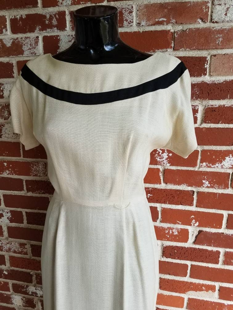 Vintage Scarf Styles -1920s to 1960s Vintage 50S60S Beige Pencil Dress WTrim Med Custom Tailored Joseph Mccarty $24.00 AT vintagedancer.com