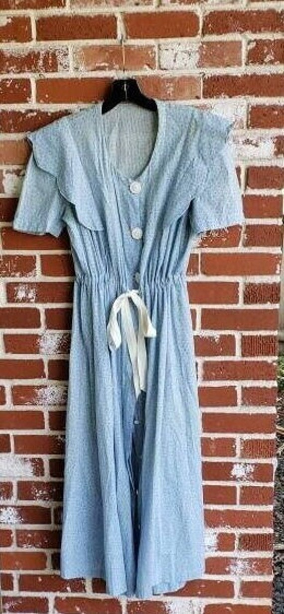 Vintage 30s/40s Calico Print Blue Farmgirl  Dress