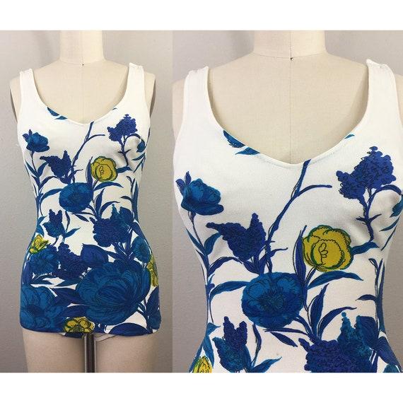 Vintage 1960s Mod Floral Swimsuit 60s XS