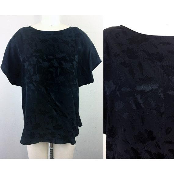 Vintage 80s FLORA KUNG Black Floral Silk Blouse To