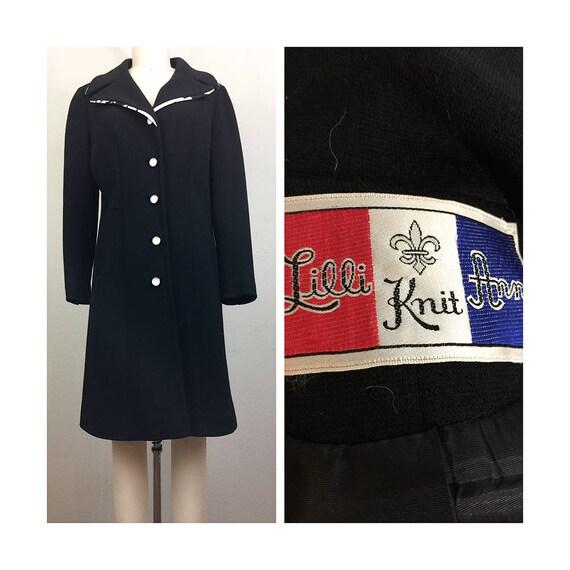Vintage 60s LILLI ANN Black Knit Coat w/ White Flo