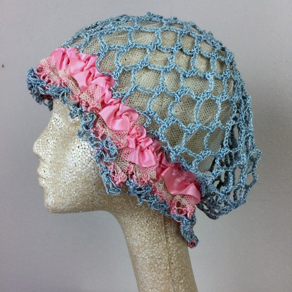Antique Edwardian Blue Crochet Bonnet Hat 20s Fla… - image 2