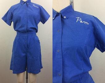 Vintage 30s Blue Gym Romper Playsuit Onesie 1930s M