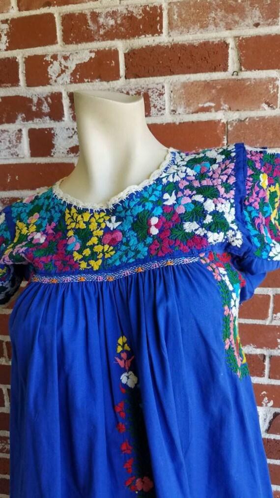 Vintage 70s/80s Blue Oaxacan Cotton Dress