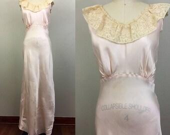 Vintage 30s 40s WEISMAN Pink Rayon Satin n Lace Bias Cut Slip Nightgown Lingerie S/M
