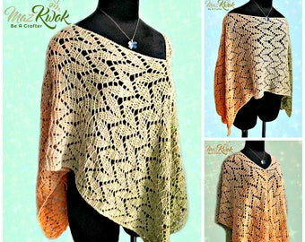 Spring Leaves poncho pdf crochet pattern ( size S - 3XL )