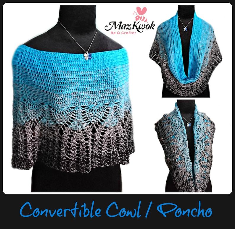 Convertible cowl / poncho pdf crochet pattern  size S  3XL  image 0