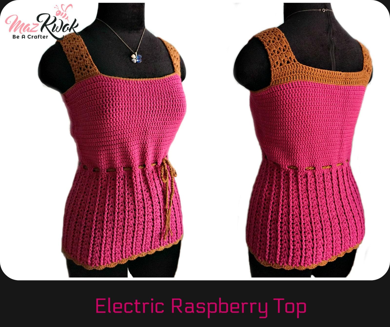 Electric Raspberry Top Pdf Crochet Pattern Size S 2xl Etsy