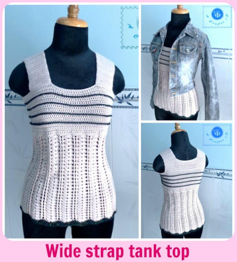 Wide strap tank top pdf crochet pattern  size 2XS  2XL  image 0