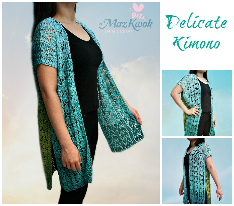 Delicate kimono pdf crochet pattern  size M  4XL  image 0