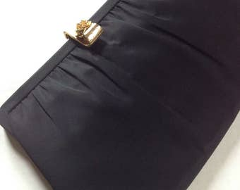 Vintage/After 5 Black Evening Bag/Clutch/Gold Rose Clasp/Coin Purse