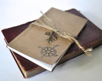 Travel notebook, Compass notebook, stocking stuffer, mini journal, small notebook, sketchbook, travel journal, pocket notebook