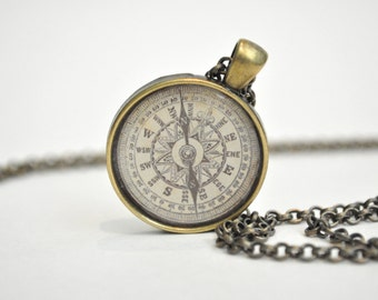 Compass necklace, travel gift, graduation gift, compass charm, compass jewelry, nautical necklace, gold compass, travellers gift