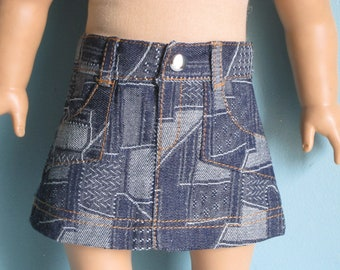 Denim Skirt features Patchwork Print - Made to fit American Girl Dolls