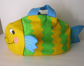 Children's - Boys or Girls' BAGGY ANIMAL FISH Tote Bag: Whimsical & Colorful