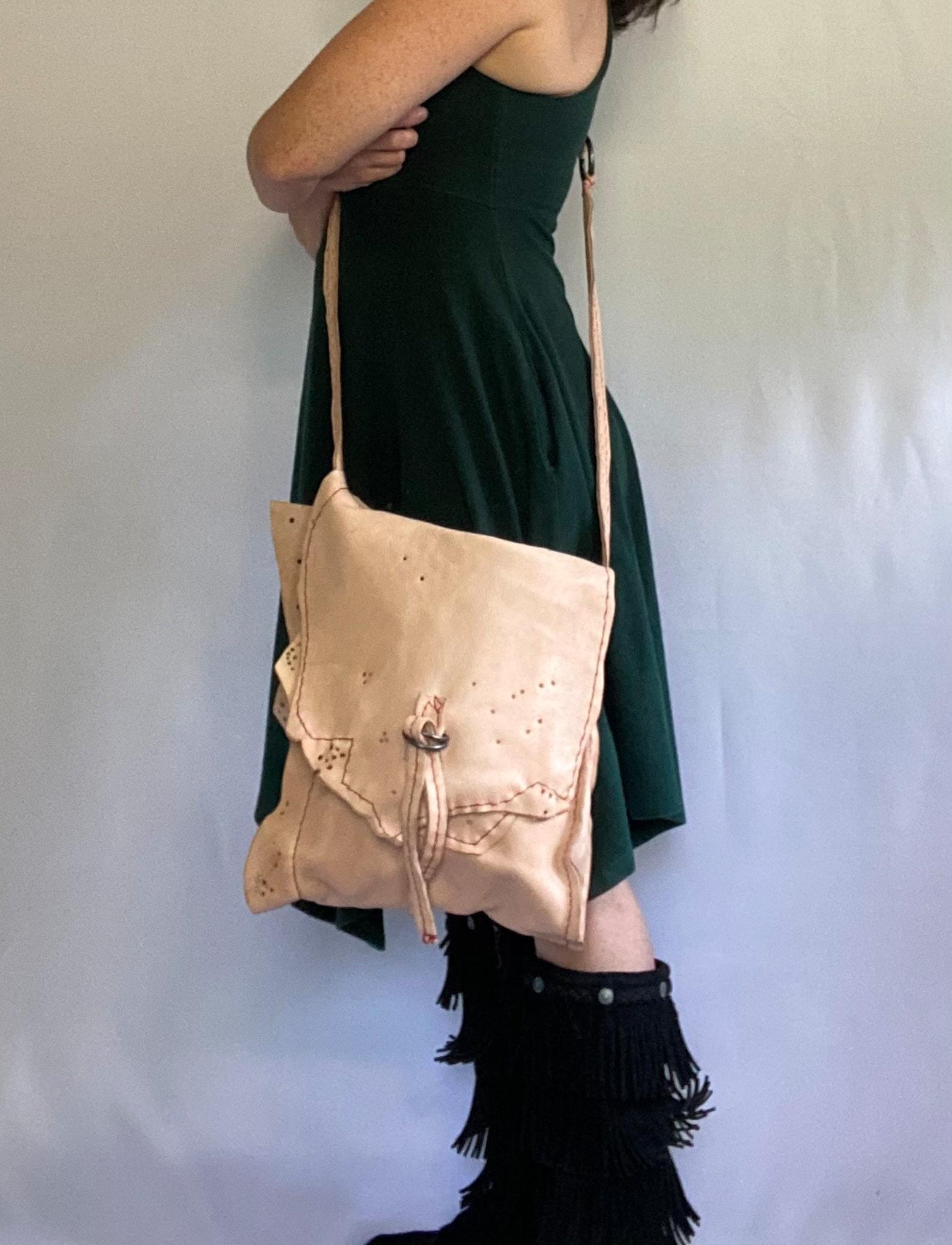 Handtasche beige creme leder fake Umhängetasche in
