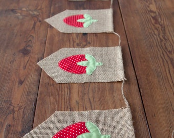Strawberry Burlap Banner