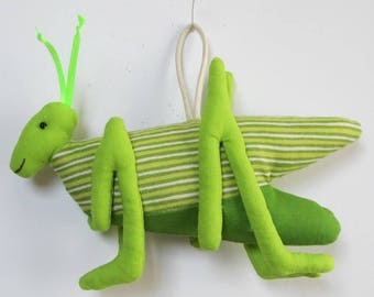 Fabric Grasshopper keychain, ornament, accessory