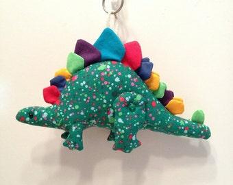 Fabric Poseable Stegosaurus Dinosaur keychain, ornament, accessory