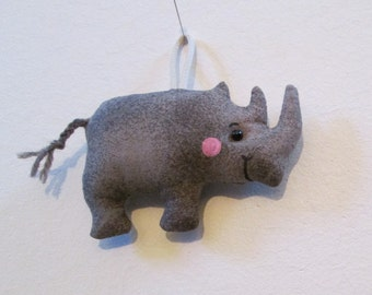 TWO OPTIONS - Fabric Mini-Rhinoceros (Rhino) keychain, ornament, accessory