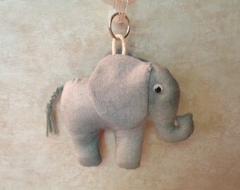 2 OPTIONS - Fabric Elephant keychain, ornament, accessory