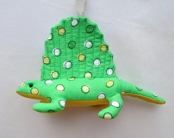 Fabric Dimetrodon Dinosaur keychain, ornament, accessory