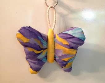 5 COLOR OPTIONS - Fabric Butterfly keychain, ornament, accessory