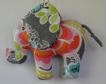 Fabric Floral Elephant keychain, ornament, accessory