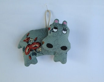 Fabric Hippopotamus (Hippo) keychain, ornament, accessory