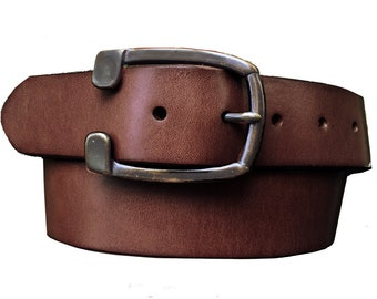 c02e7833 Dark Brown Genuine Leather Western Belt - Solid Brass Removable Buckle -  Distressed - Horseshoe - Father's Day Gift Idea