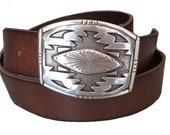 Distressed Brown Southwestern Premium Leather Belt - Snap on Buckle - Engraved - Western Riding Style