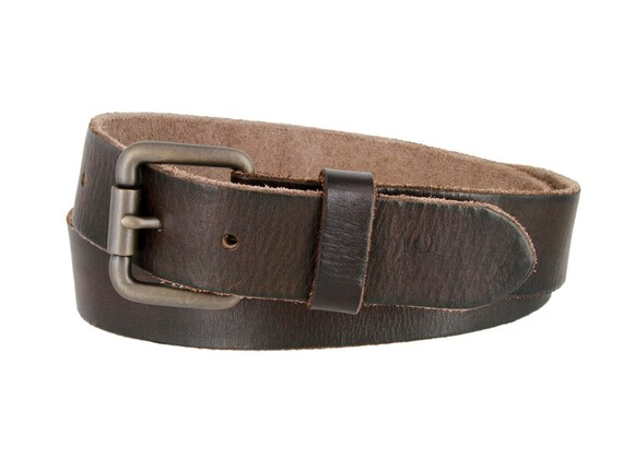 Men/'s Black Brown Casual Dress Genuine Leather Belt w// Buckle New Size S M L XL