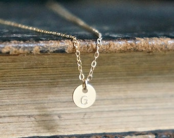 Tiny Gold Initial Disc Necklace / Extra Small Personalized Pendant on a Gold Filled Chain • dainty jewelry • lowercase or uppercase font