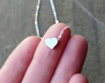 Silver Heart Necklace / Tiny Heart Pendant on Sterling Silver Chain / Sweet Heart